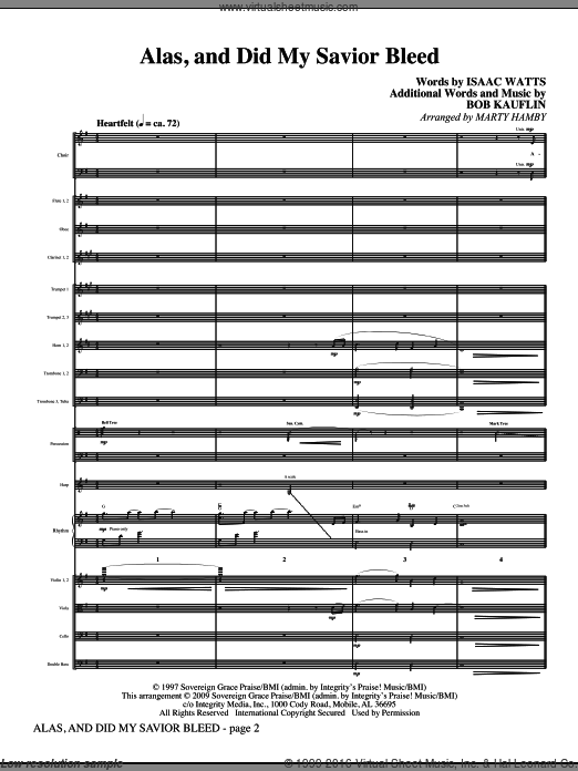 Alas, And Did My Savior Bleed (COMPLETE) sheet music for orchestra by Bob Kauflin, Isaac Watts and Marty Hamby. Score Image Preview.