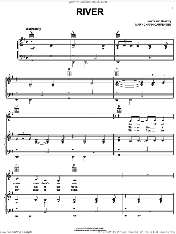 River sheet music for voice, piano or guitar by Mary Chapin Carpenter, intermediate skill level