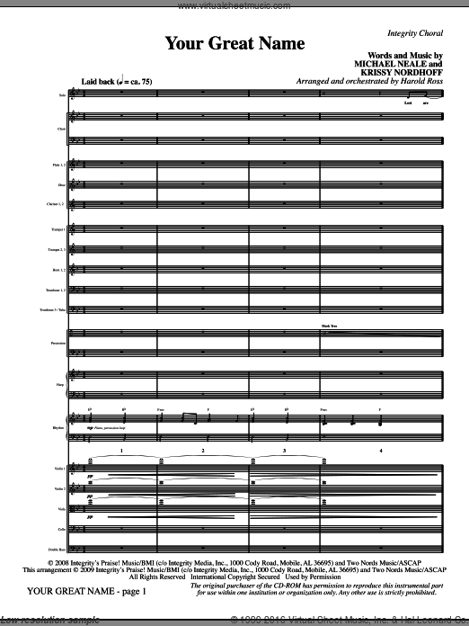 Your Great Name (COMPLETE) sheet music for orchestra by Michael Neale and Harold Ross, intermediate. Score Image Preview.