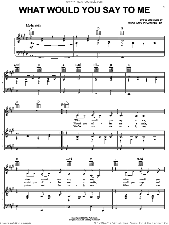 What Would You Say To Me sheet music for voice, piano or guitar by Mary Chapin Carpenter, intermediate. Score Image Preview.