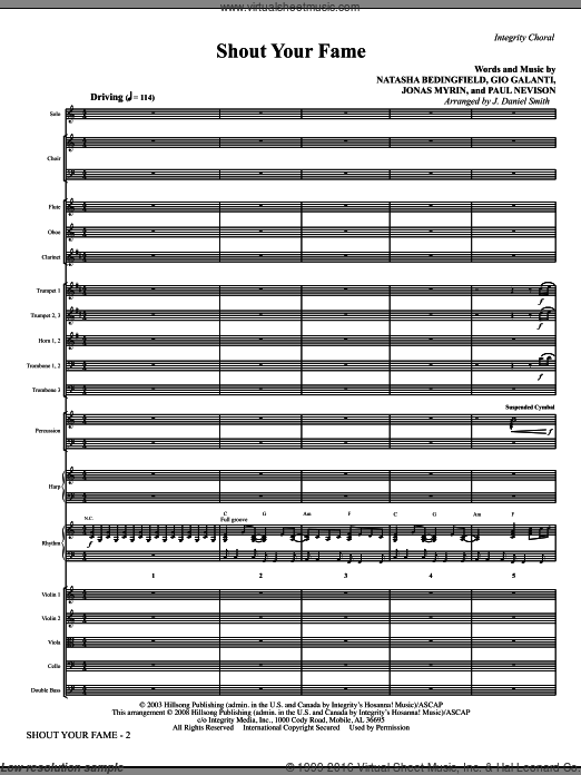 Shout Your Fame (COMPLETE) sheet music for orchestra by Jonas Myrin, Natasha Bedingfield and J. Daniel Smith. Score Image Preview.
