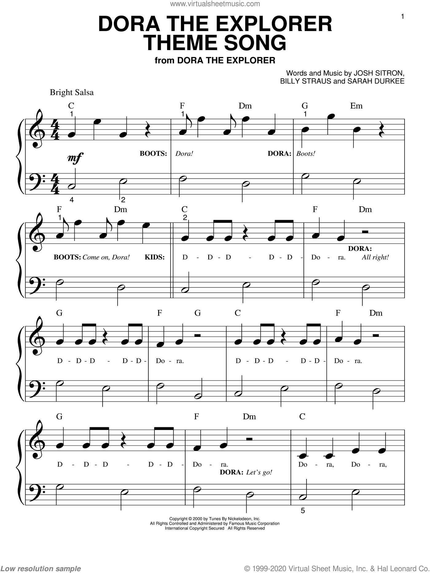 Dora The Explorer Theme Song sheet music for piano solo (big note book) by Sarah Durkee and Billy Straus. Score Image Preview.