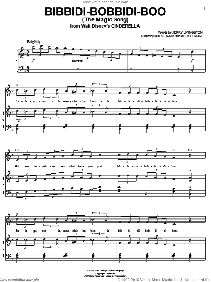 Bibbidi-Bobbidi-Boo (The Magic Song) sheet music for voice and piano by Bobby McFerrin, Louis Armstrong, Al Hoffman, Jerry Livingston and Mack David, intermediate voice. Score Image Preview.