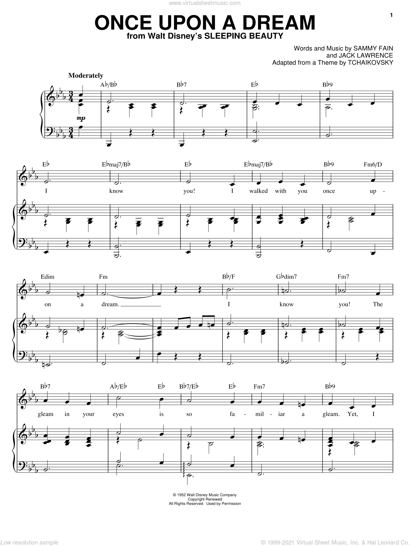 Once Upon A Dream sheet music for voice and piano by Jack Lawrence and Sammy Fain. Score Image Preview.