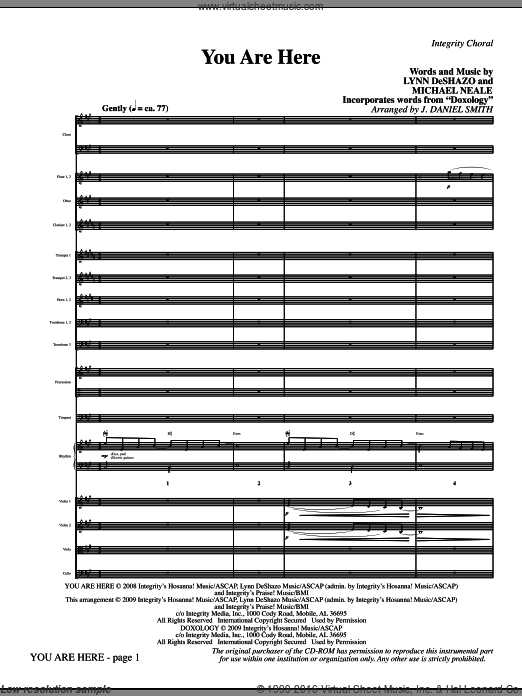 You Are Here (incorporating Doxology) (COMPLETE) sheet music for orchestra by Lynn DeShazo, Michael Neale and J. Daniel Smith. Score Image Preview.