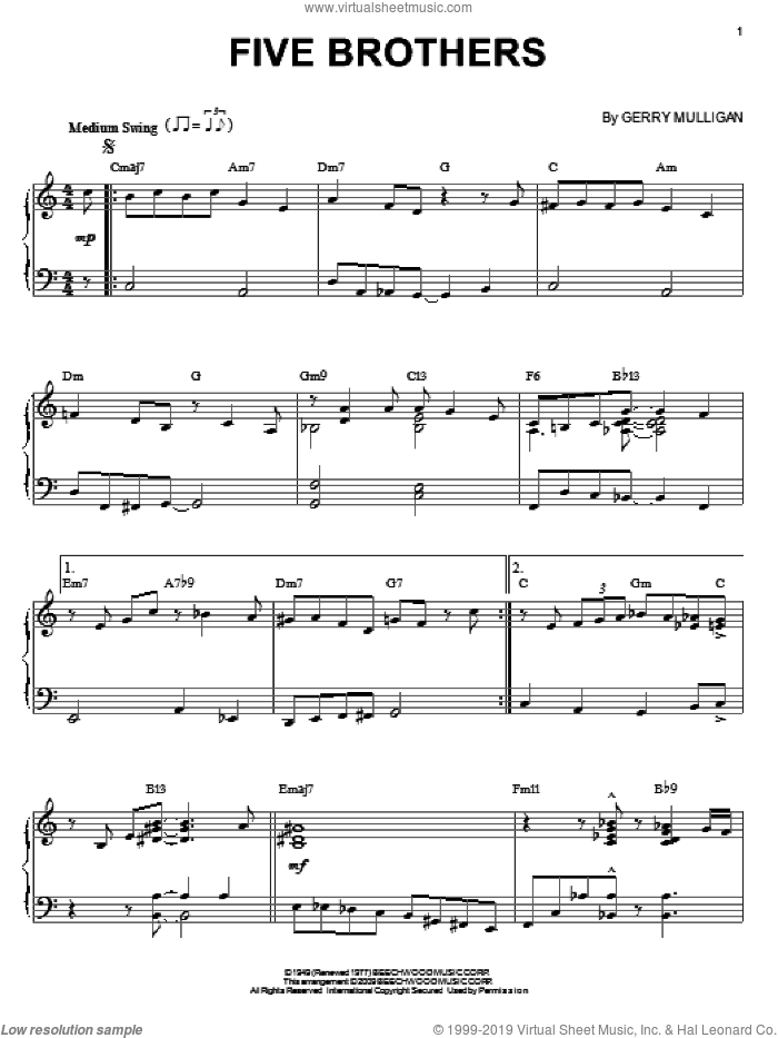 Five Brothers sheet music for piano solo by Gerry Mulligan, intermediate. Score Image Preview.
