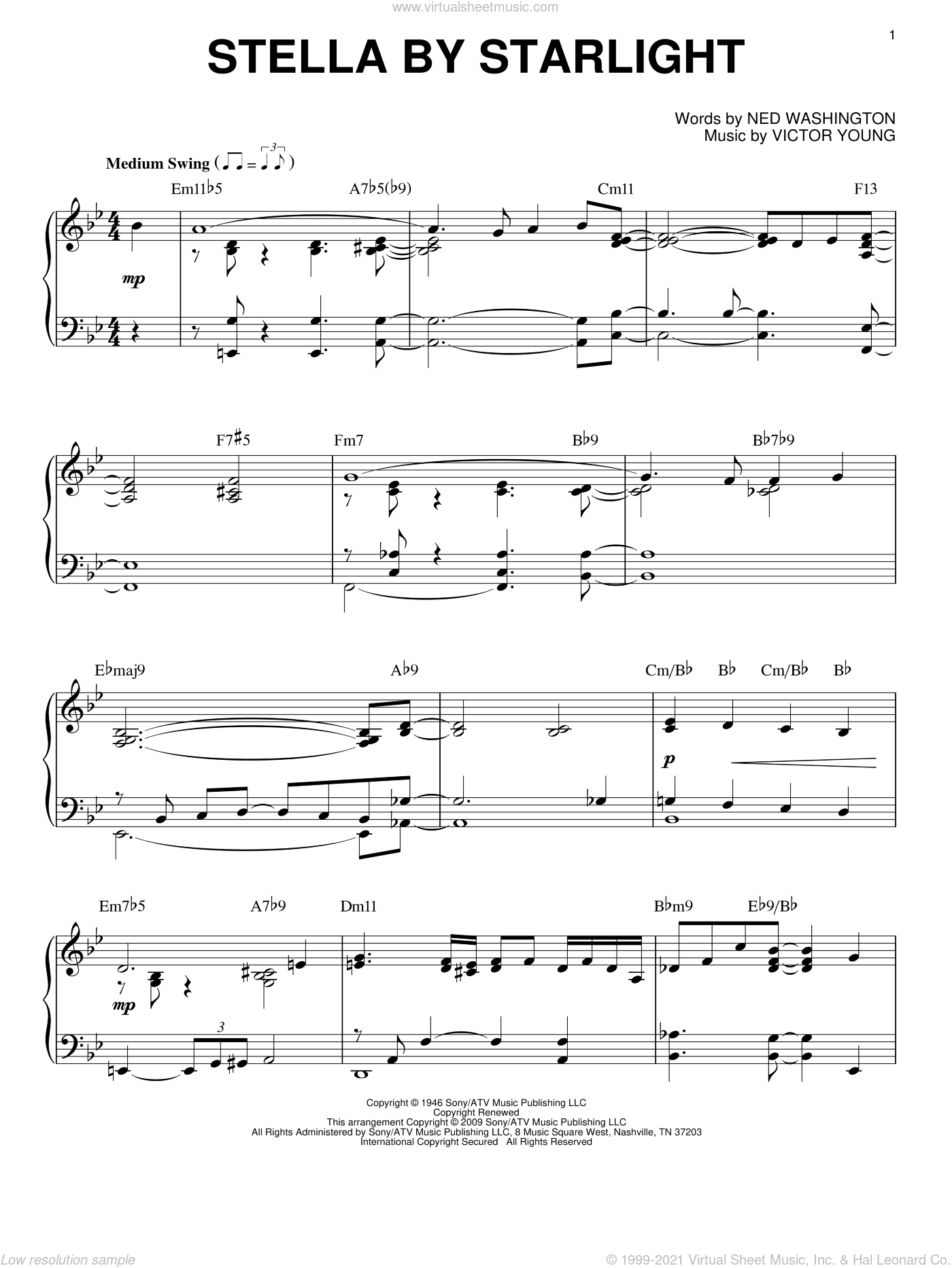 Stella By Starlight sheet music for piano solo by Victor Young and Ned Washington, intermediate piano. Score Image Preview.