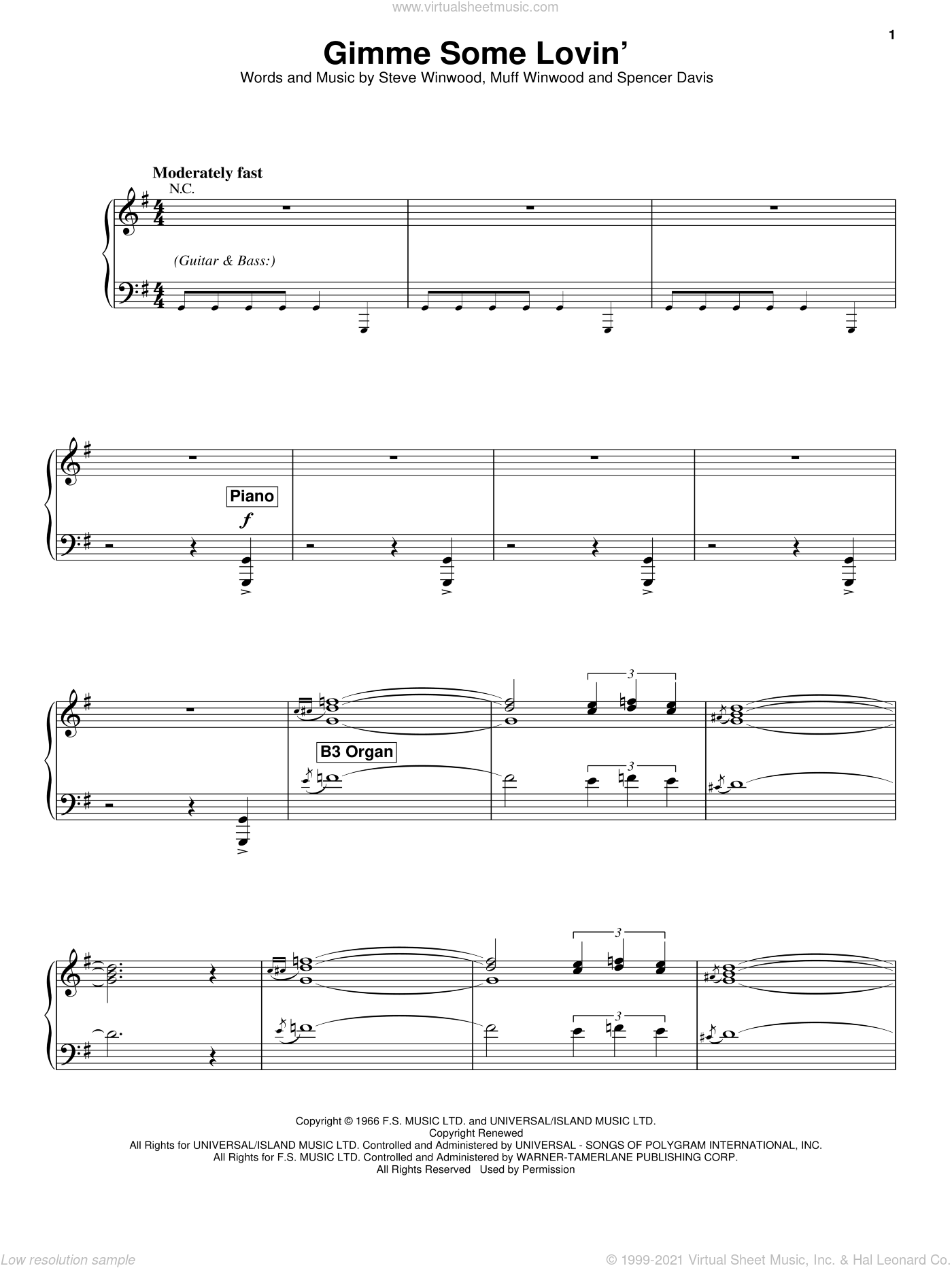 Gimme Some Lovin' sheet music for voice and piano by Spencer Davis, Muff Winwood and Steve Winwood. Score Image Preview.