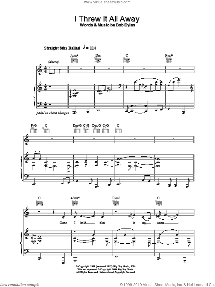 I Threw It All Away sheet music for voice, piano or guitar by Jacqui Dankworth, intermediate voice, piano or guitar. Score Image Preview.