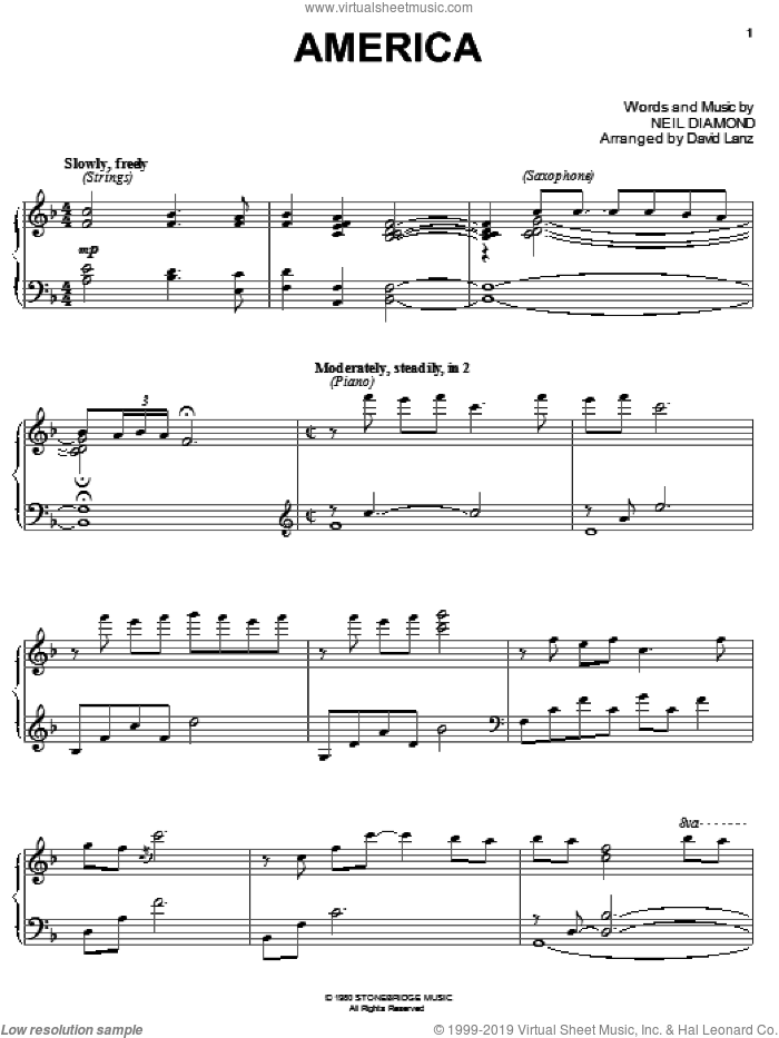 America sheet music for piano solo by Neil Diamond, intermediate skill level