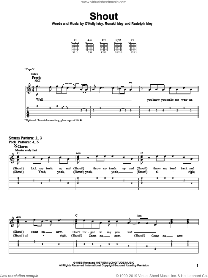 Shout sheet music for guitar solo (easy tablature) by The Isley Brothers and O Kelly Isley. Score Image Preview.