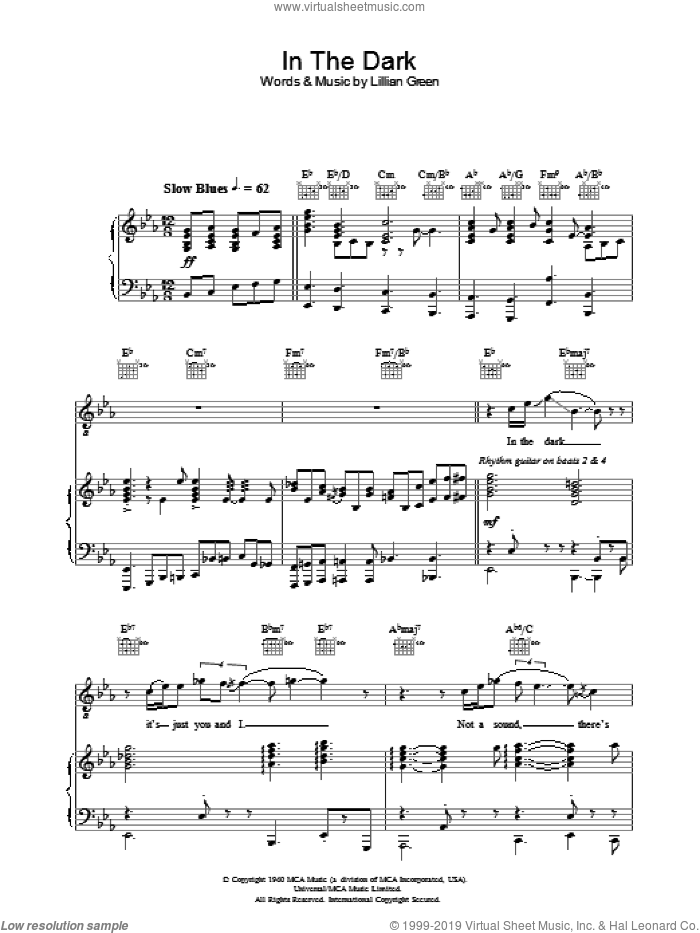 In The Dark sheet music for voice, piano or guitar by Norah Jones. Score Image Preview.