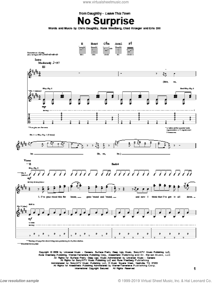 No Surprise sheet music for guitar (tablature) by Daughtry, Chad Kroeger, Chris Daughtry, Eric Dill and Rune Westberg, intermediate guitar (tablature). Score Image Preview.