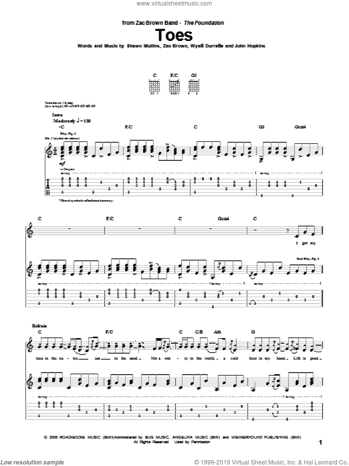 Toes sheet music for guitar (tablature) by Zac Brown, Zac Brown Band, Shawn Mullins and Wyatt Durrette