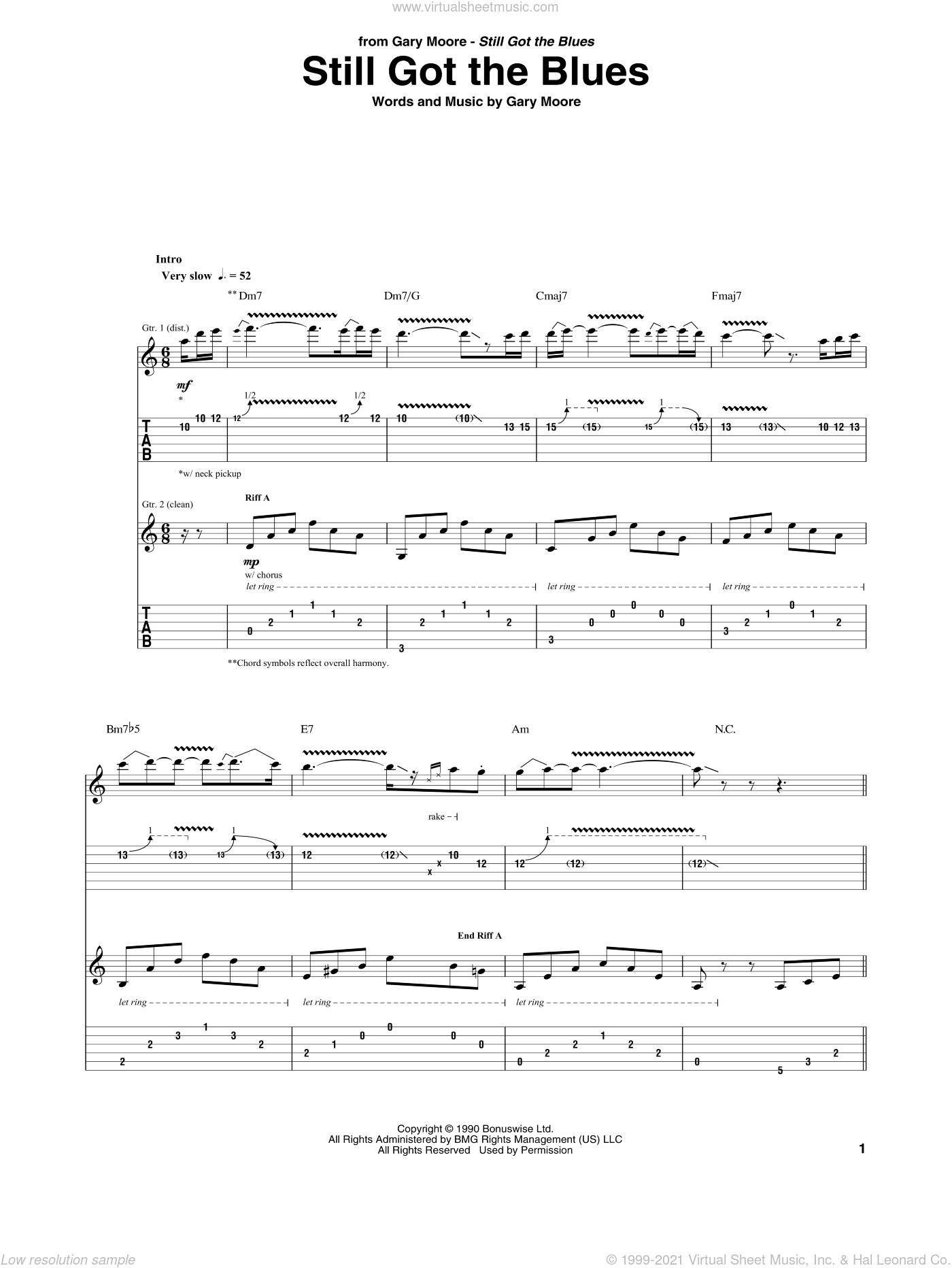 Still Got The Blues sheet music for guitar (tablature) by Gary Moore. Score Image Preview.
