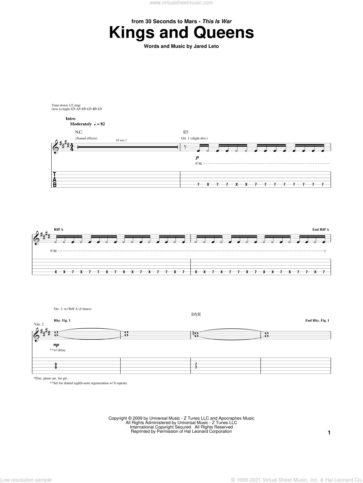 Kings And Queens sheet music for guitar (tablature) by 30 Seconds To Mars and Jared Leto, intermediate skill level