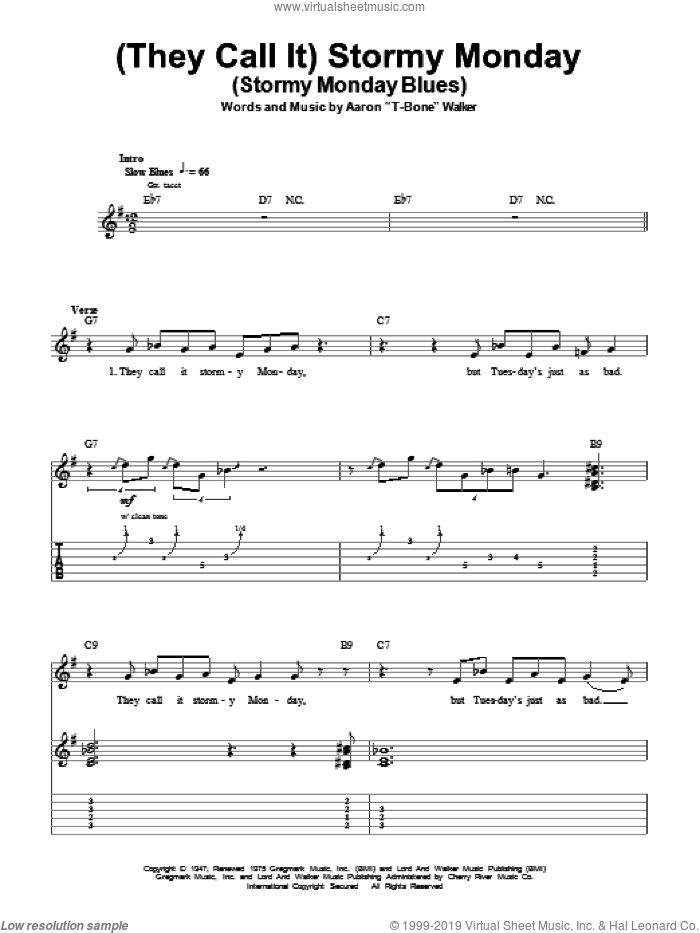 (They Call It) Stormy Monday (Stormy Monday Blues) sheet music for guitar (tablature, play-along) by Aaron