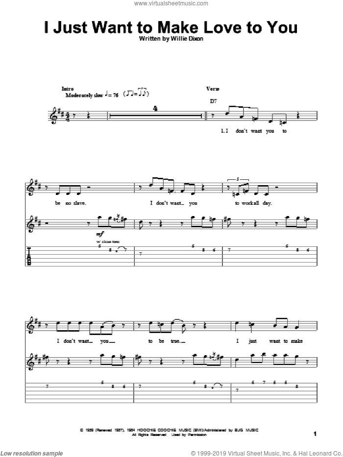 I Just Want To Make Love To You sheet music for guitar (tablature, play-along) by Muddy Waters, Foghat and Willie Dixon, intermediate. Score Image Preview.