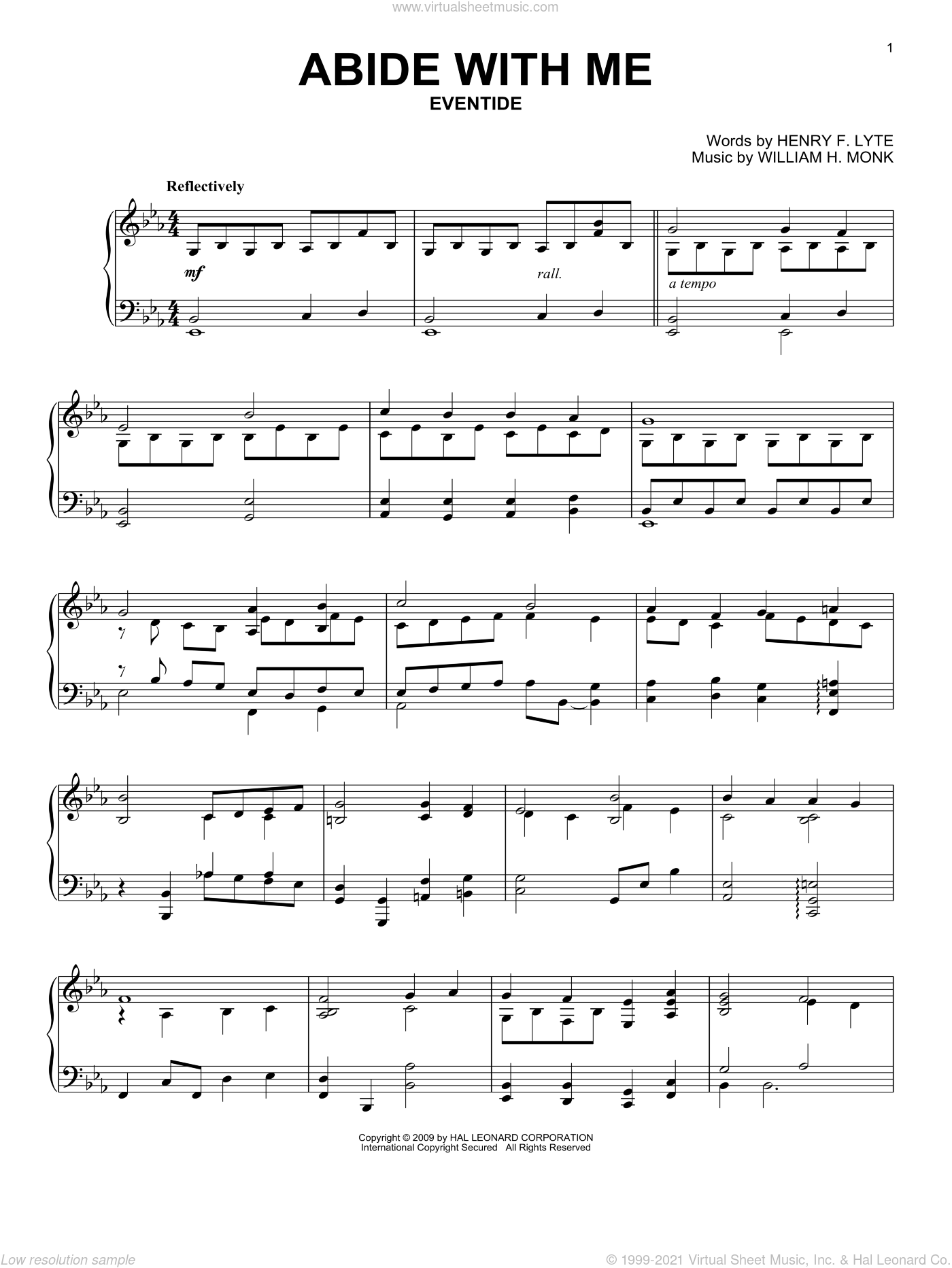 Abide With Me sheet music for piano solo by William Henry Monk and Henry F. Lyte. Score Image Preview.