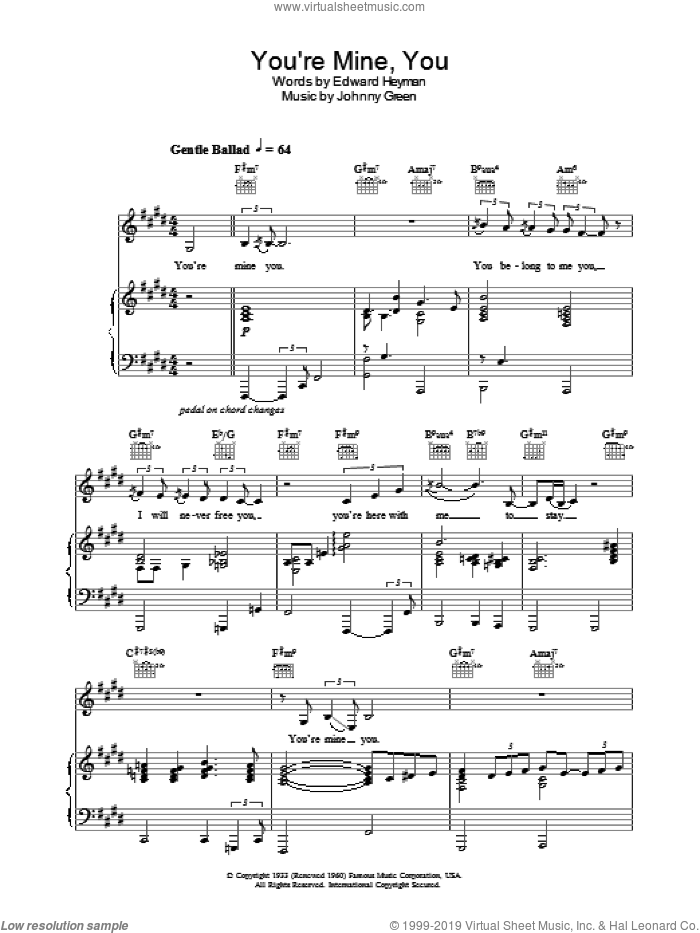 You're Mine, You sheet music for voice, piano or guitar by Natalie Cole. Score Image Preview.