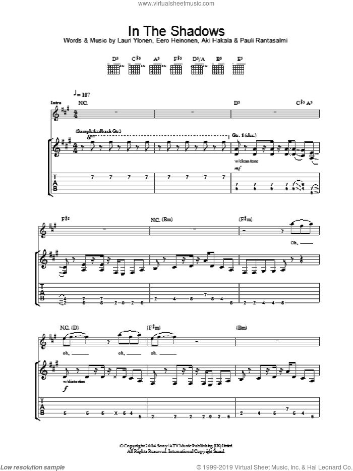 In The Shadows sheet music for guitar (tablature) by The Rasmus