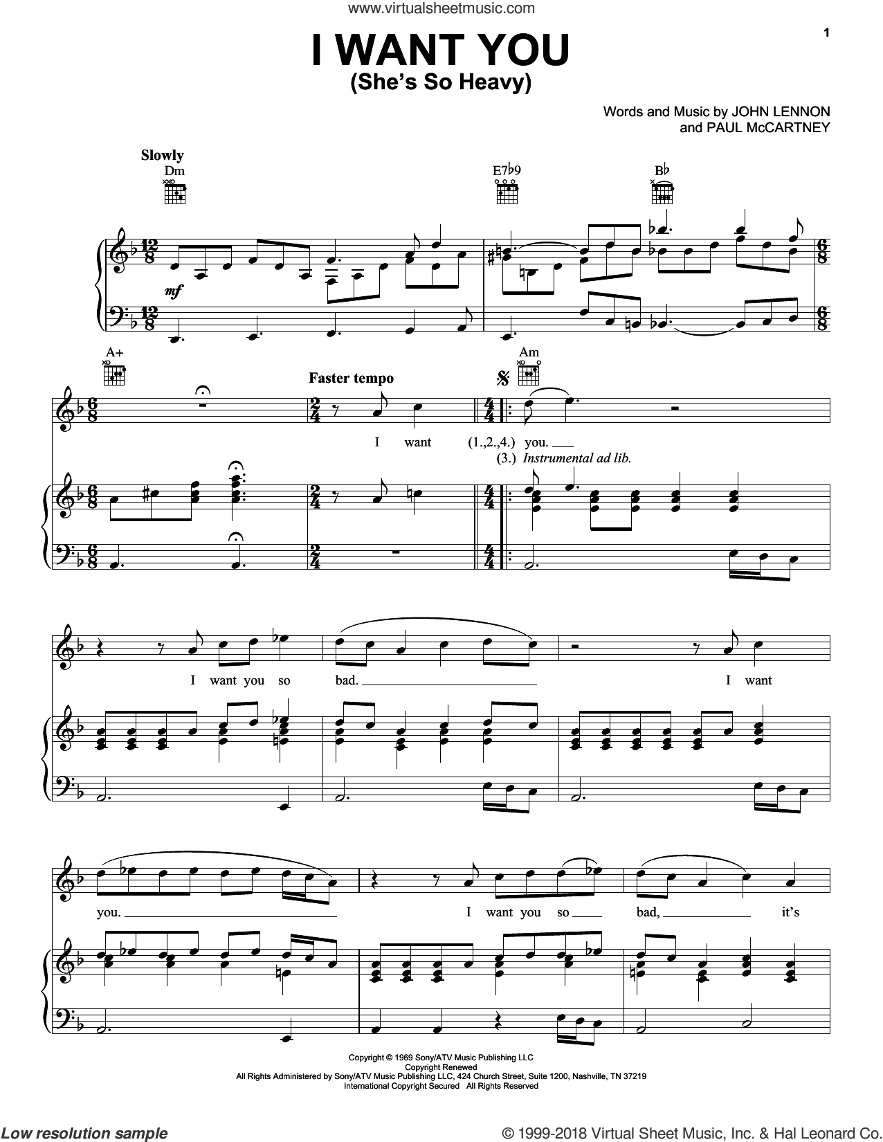 I Want You (She's So Heavy) sheet music for voice, piano or guitar by The Beatles, John Lennon and Paul McCartney, intermediate voice, piano or guitar. Score Image Preview.