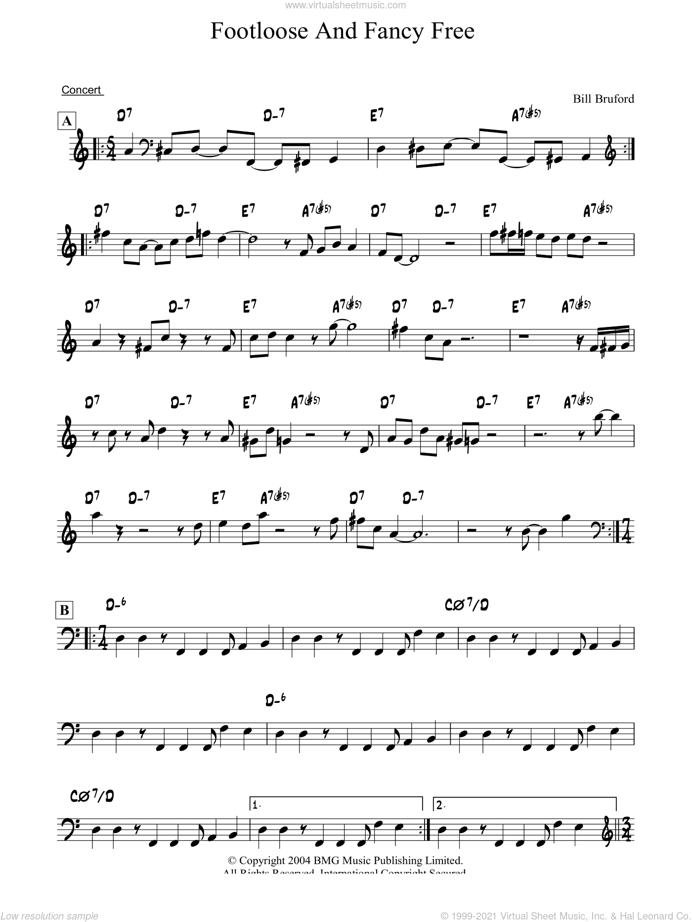 Footloose And Fancy Free sheet music for piano solo by Bill Bruford. Score Image Preview.