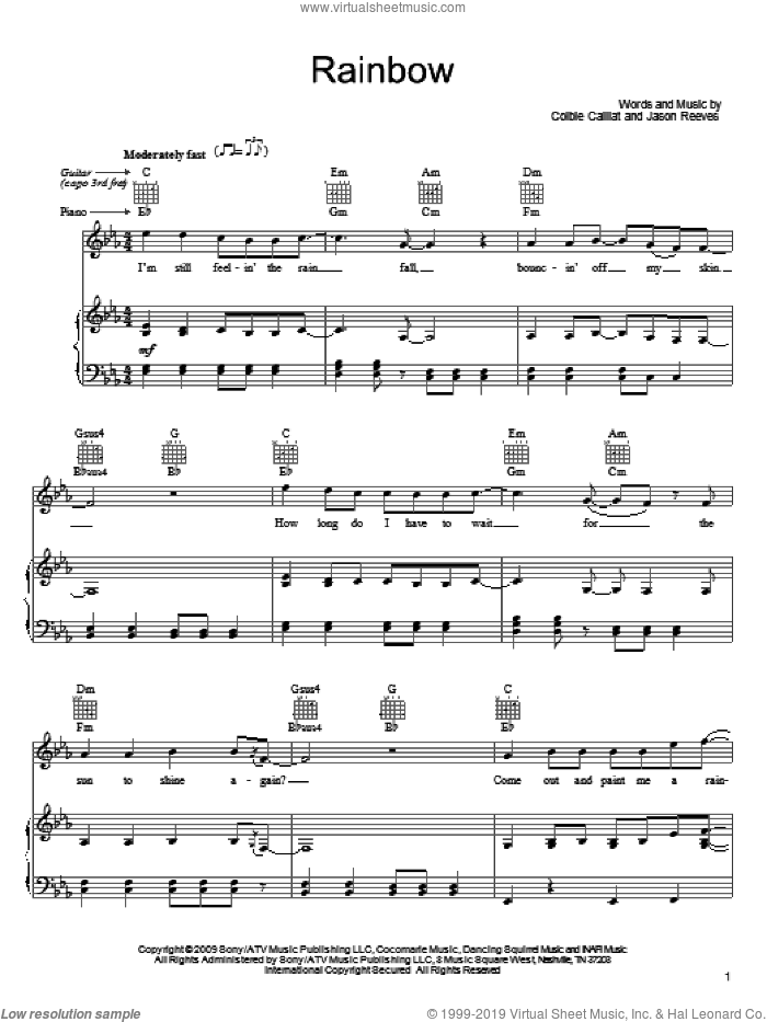 Rainbow sheet music for voice, piano or guitar by Colbie Caillat and Jason Reeves, intermediate skill level