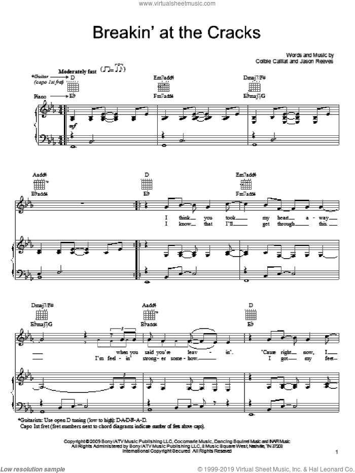 Breakin' At The Cracks sheet music for voice, piano or guitar by Jason Reeves and Colbie Caillat. Score Image Preview.