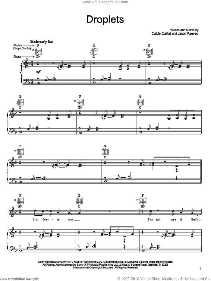 Droplets sheet music for voice, piano or guitar by Colbie Caillat and Jason Reeves. Score Image Preview.