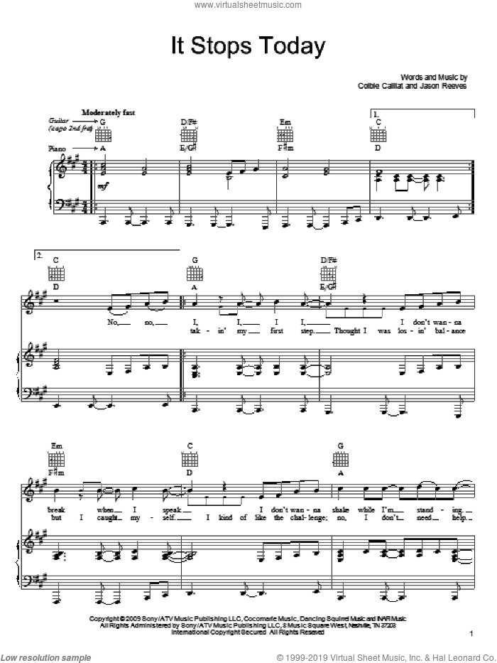 It Stops Today sheet music for voice, piano or guitar by Colbie Caillat and Jason Reeves. Score Image Preview.
