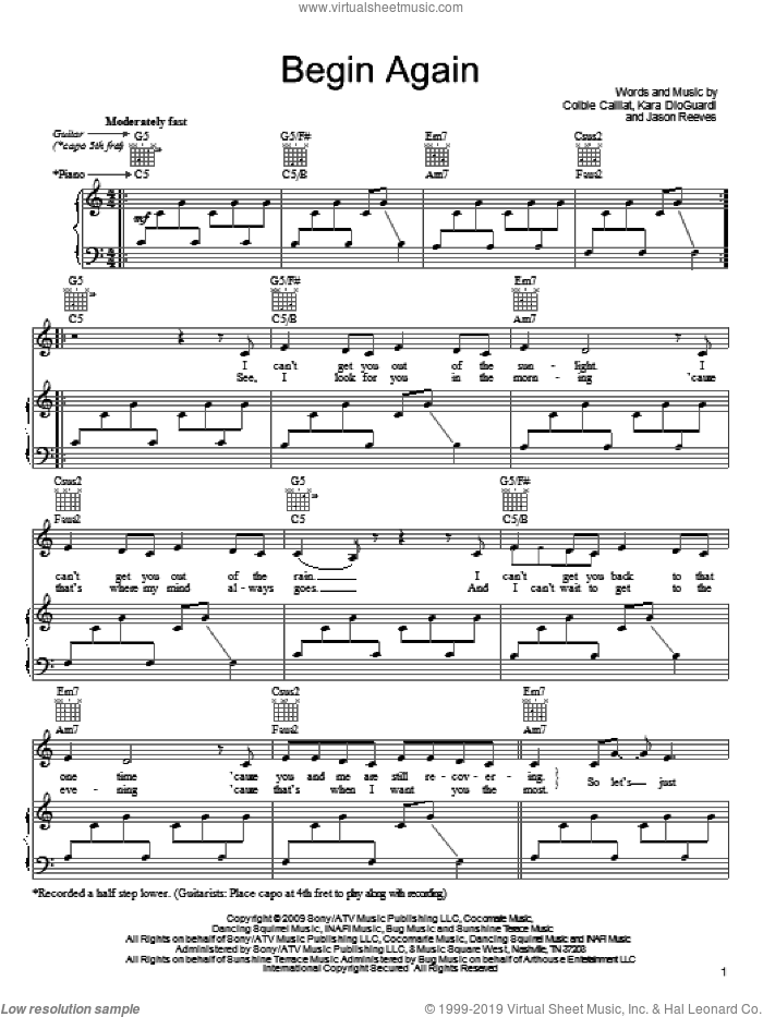 Begin Again sheet music for voice, piano or guitar by Colbie Caillat, Jason Reeves and Kara DioGuardi, intermediate. Score Image Preview.