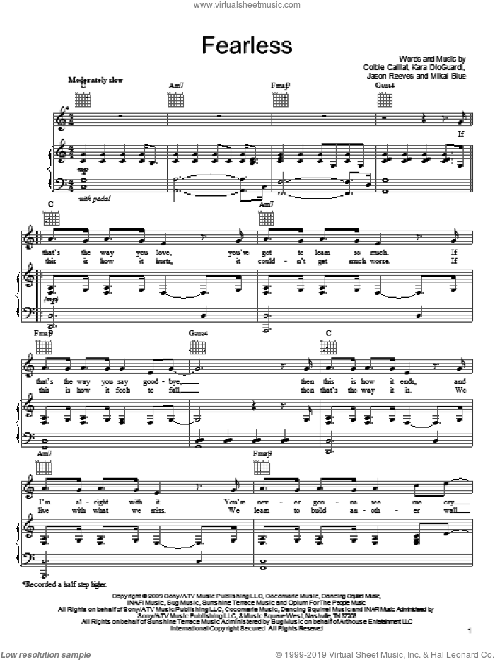 Fearless sheet music for voice, piano or guitar by Colbie Caillat, Jason Reeves, Kara DioGuardi and Mikal Blue, intermediate. Score Image Preview.