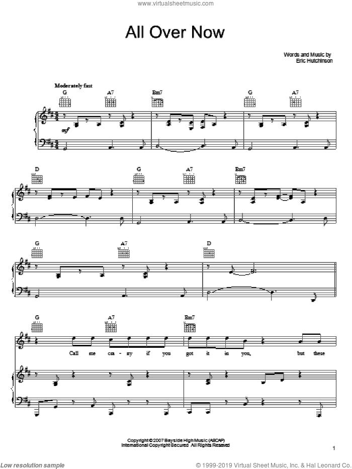 All Over Now sheet music for voice, piano or guitar by Eric Hutchinson, intermediate skill level