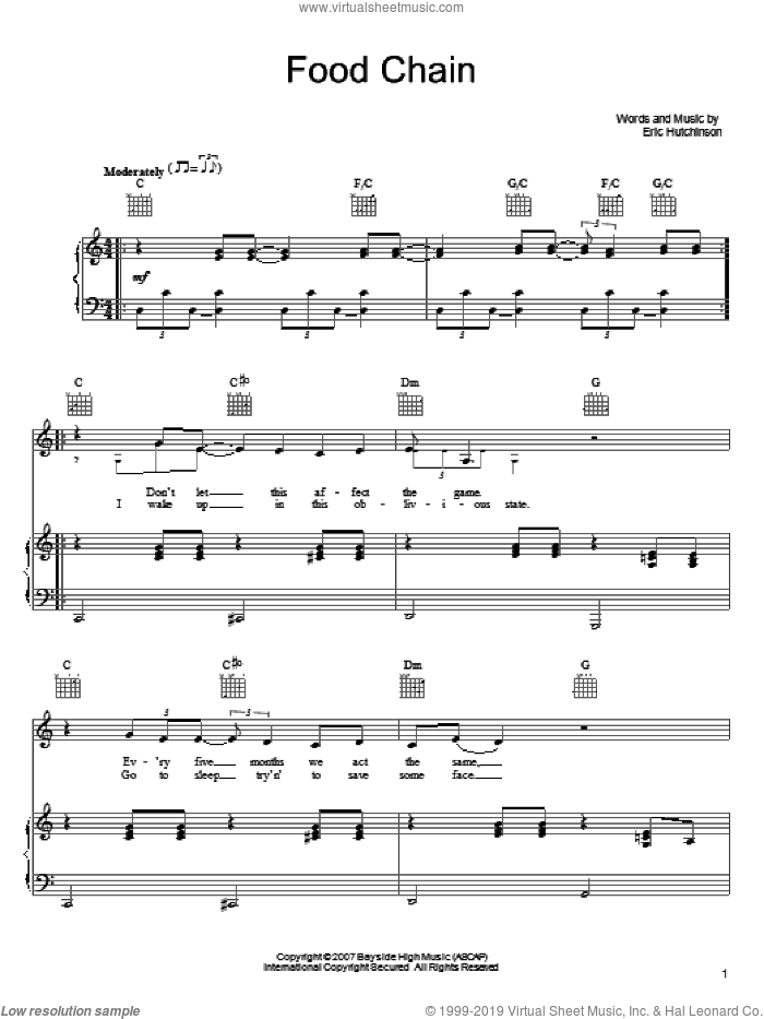 Food Chain sheet music for voice, piano or guitar by Eric Hutchinson, intermediate. Score Image Preview.