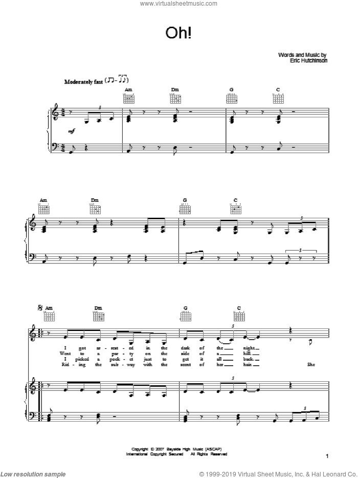 Oh! sheet music for voice, piano or guitar by Eric Hutchinson, intermediate voice, piano or guitar. Score Image Preview.
