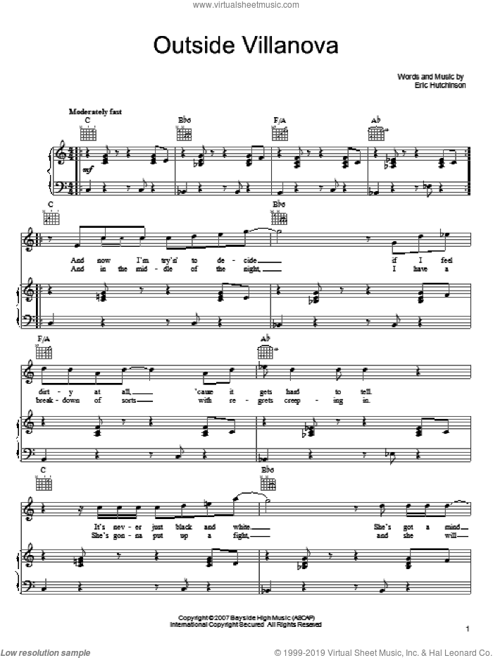 Outside Villanova sheet music for voice, piano or guitar by Eric Hutchinson, intermediate skill level