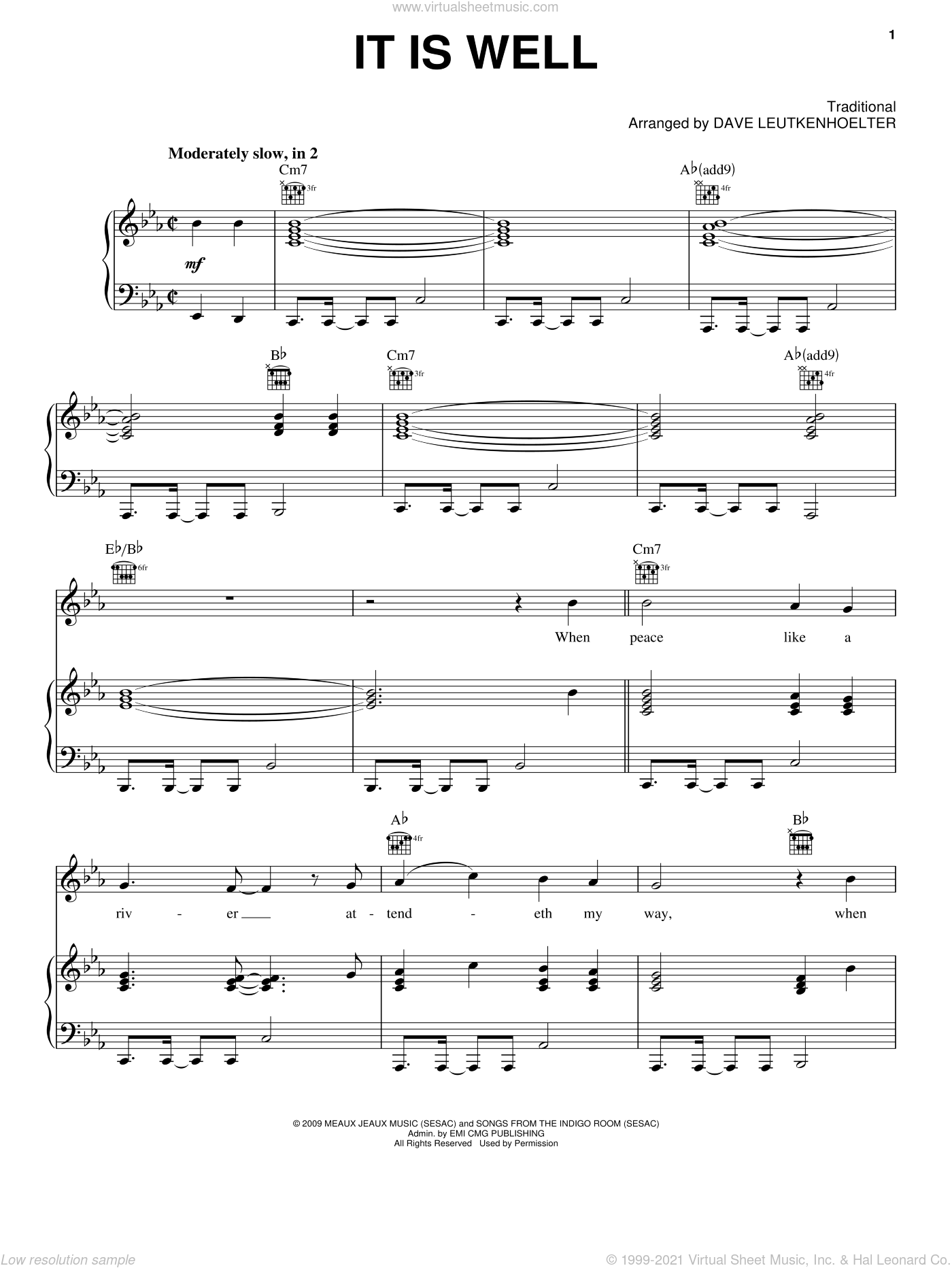 It Is Well sheet music for voice, piano or guitar by Kutless, Dave Leutkenhoelter and Miscellaneous, intermediate skill level