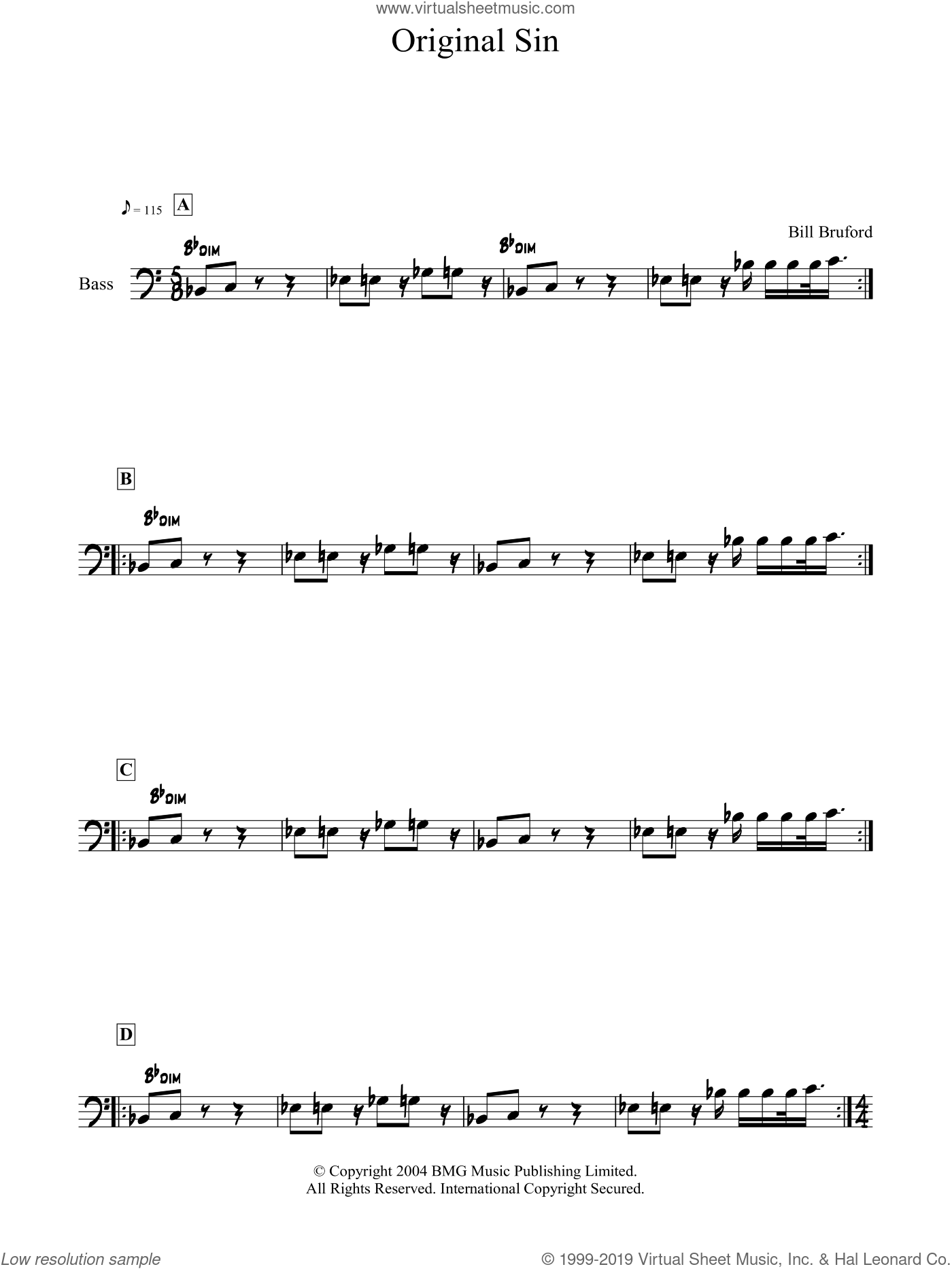 Original Sin sheet music for voice and other instruments (fake book) by Bill Bruford, intermediate