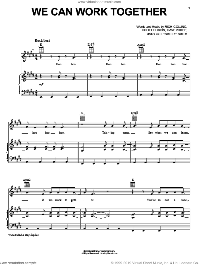 We Can Work Together sheet music for voice, piano or guitar by Scott Durbin