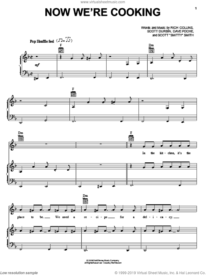 Now We're Cooking sheet music for voice, piano or guitar by Imagination Movers. Score Image Preview.