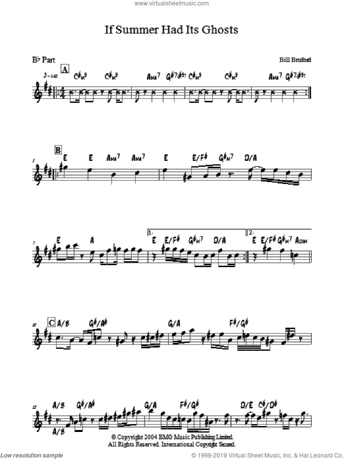If Summer Had Its Ghosts sheet music for voice and other instruments (fake book) by Bill Bruford. Score Image Preview.