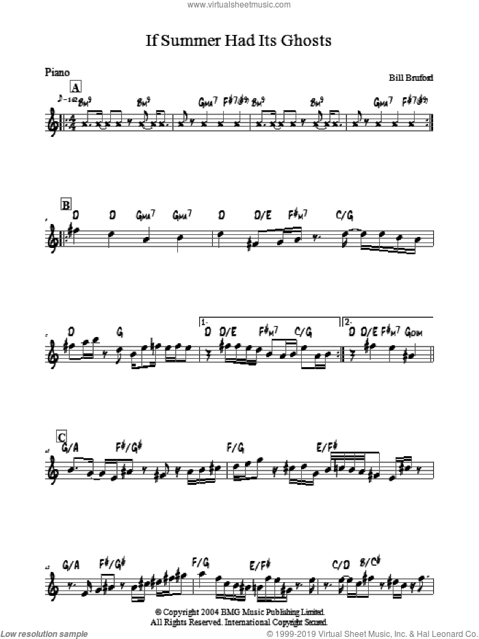 If Summer Had Its Ghosts sheet music for piano solo by Bill Bruford, intermediate skill level