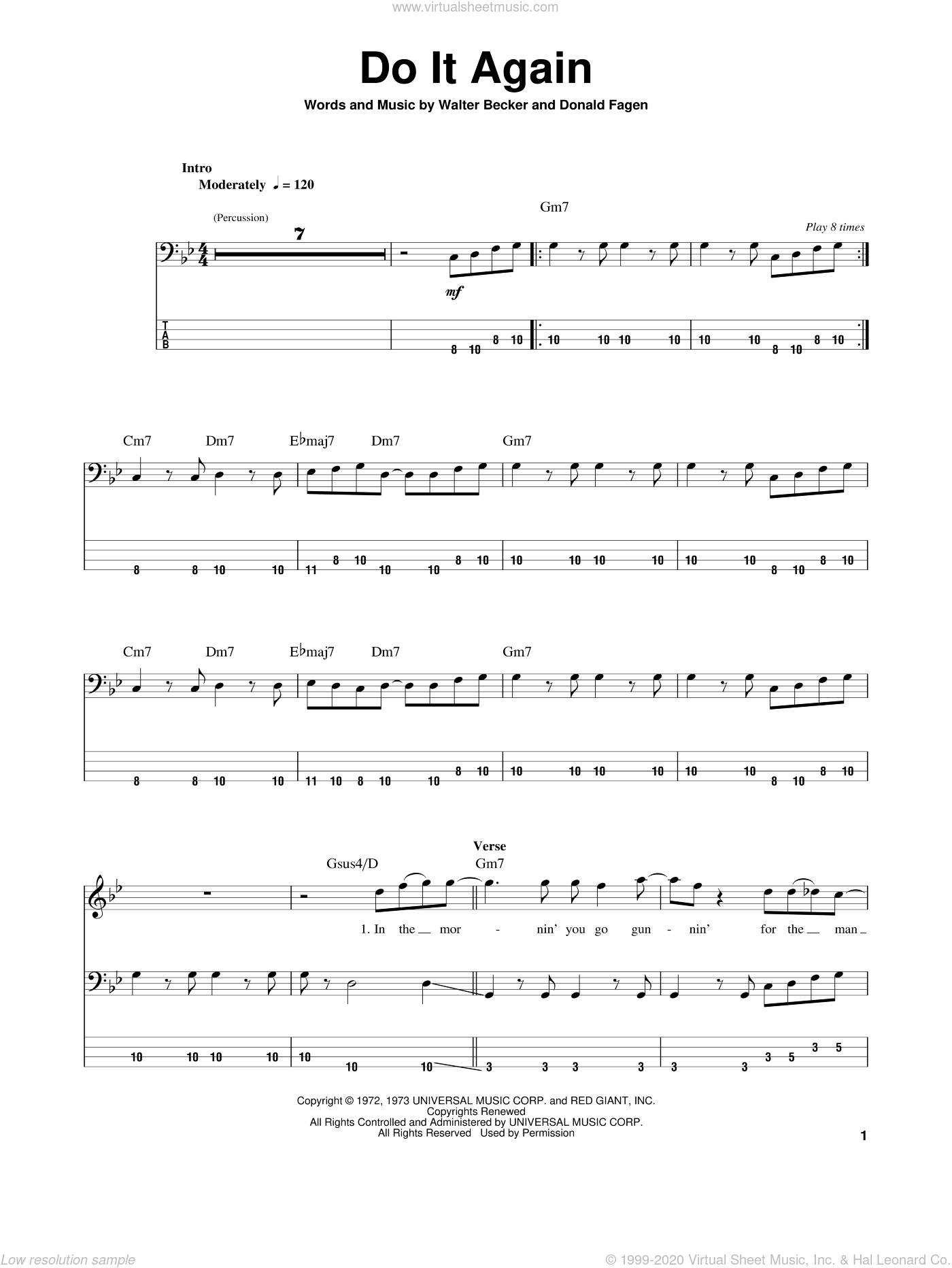 Do It Again sheet music for bass (tablature) (bass guitar) by Steely Dan and Donald Fagen, intermediate. Score Image Preview.