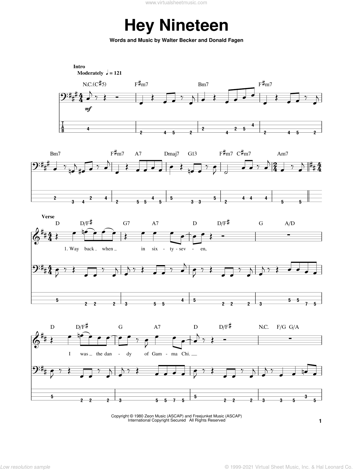 Hey Nineteen sheet music for bass (tablature) (bass guitar) by Steely Dan and Donald Fagen, intermediate. Score Image Preview.