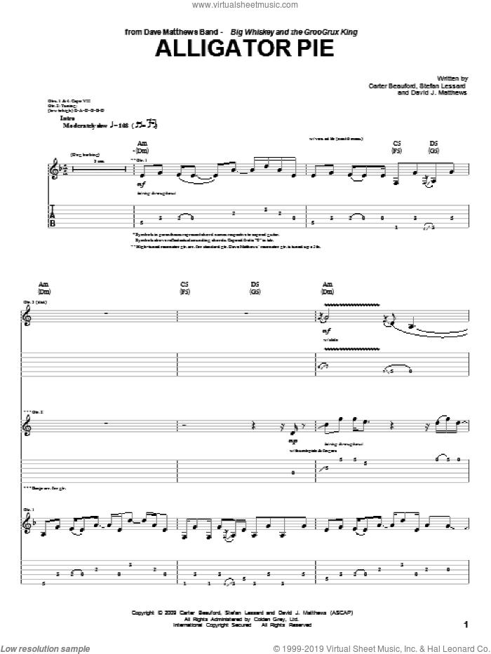Alligator Pie sheet music for guitar (tablature) by Dave Matthews Band, Carter Beauford and Stefan Lessard, intermediate skill level