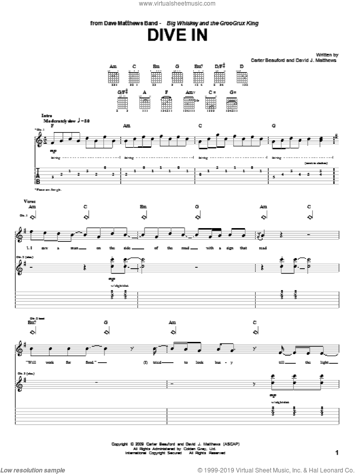 Dive In sheet music for guitar (tablature) by Dave Matthews Band and Carter Beauford, intermediate skill level