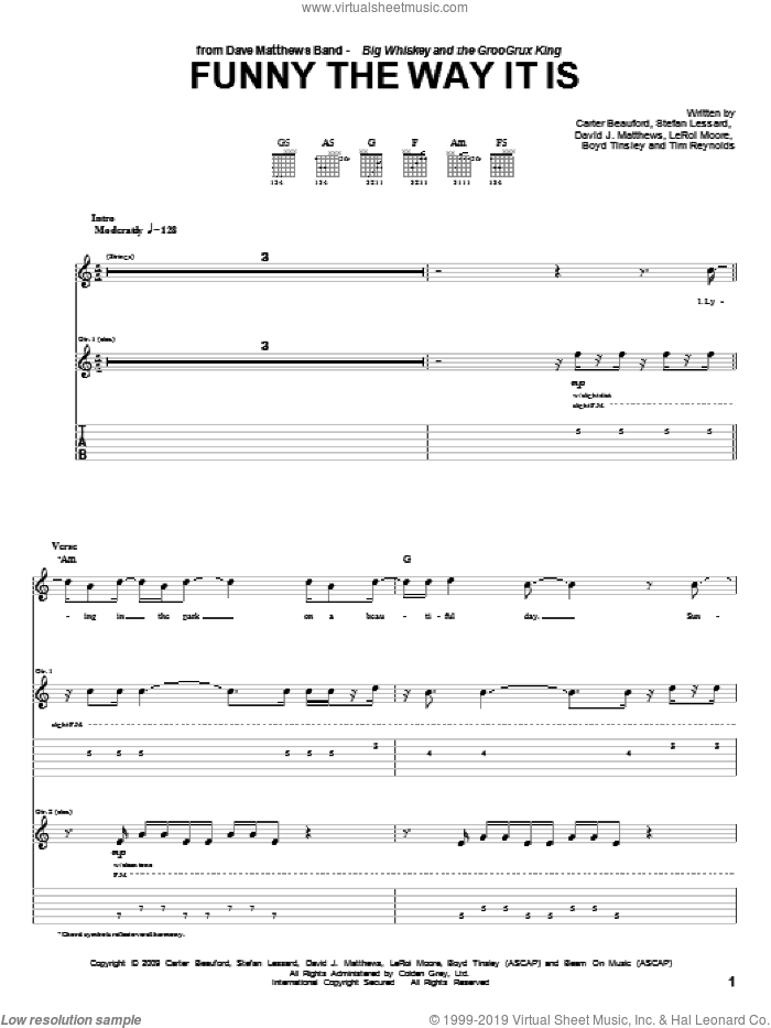 Funny The Way It Is sheet music for guitar solo (tablature) by Tim Reynolds