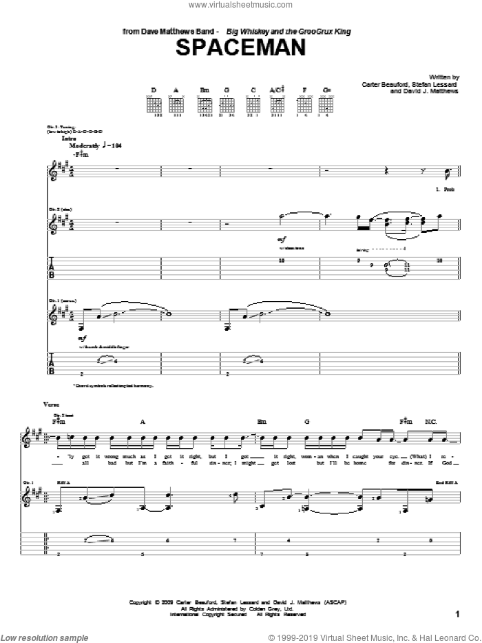 Spaceman sheet music for guitar (tablature) by Stefan Lessard