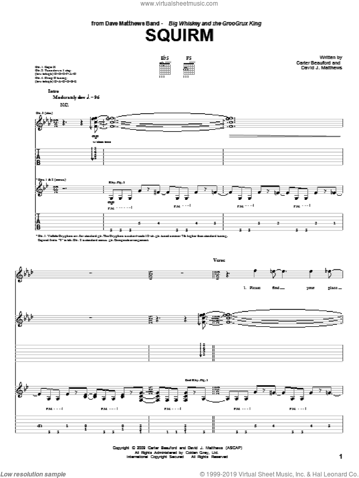 Squirm sheet music for guitar (tablature) by Carter Beauford and Dave Matthews Band. Score Image Preview.